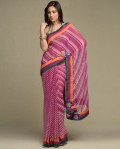 needle and thread dark pink and white printed sari