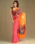 carnation pink sari by satya paul